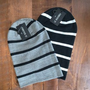 🔥NEW🔥2 FOREVER21 striped beanie hats